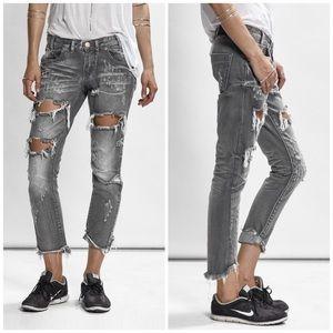 One Teaspoon Grey Chalk Freebirds Jeans